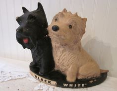 """vintage """"Black & White"""" Scotch Whisky Dogs, store Advertising Prop, chippy, rustic, distressed objet d'art. via Etsy."""