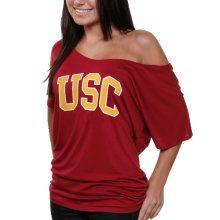 USC Trojan Shirts : USC Trojans Ladies Wordmark Off-The-Shoulder T-Shirt - Cardinal