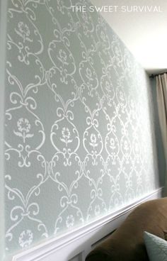 Love This Accent Wall Of Neutral Wallpaper But Added Print Or Pattern I Think Adds Depth