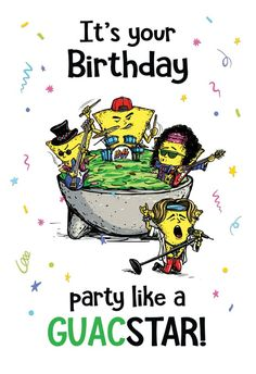 Party Like a Guacstar - Happy Birthday Card #greetingcards #printable #diy #birthday It's Your Birthday, Happy Birthday Cards, Printable Cards, Printables, Birthday Card Template, Create Yourself, Greeting Cards, Stamp, Invitations