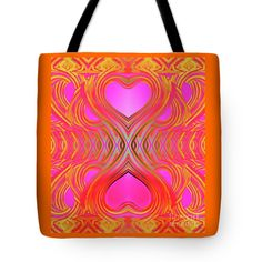 Hearts Mirrored Not Exactly The Same Tote Bag featuring the painting Pair Of Hearts by Expressionistart studio Priscilla Batzell