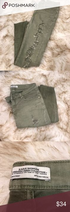 Zara Olive Green ripped jeans Skinny jeans. Super soft and stretchy. Fits a size 2 but bought in a 4. Frayed at the bottom Zara Jeans Skinny