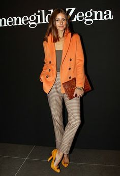 """""""Peachy orange, olive green, Lemon yellow. Olivia Palermo shows off her tan wearing these tasty colours.  She looks effortless chic in a beautiful mix of neutral tones with a pop of colour in the blazer, dress or shoes.."""""""