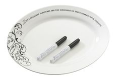 Oval Guest Signing Plate with Two Pens - Wholesale Favors