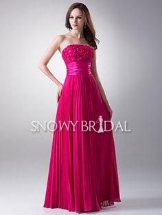 Fuchsia Floor Length Flower Pleated Strapless A-Line Bridesmaid Dress - US$ 111.99 - Style B1206 - Snowy Bridal