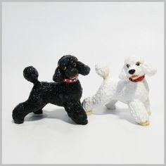 HAND PAINTING PET ART SALT & PEPPER GIFT POODLE SET DOG