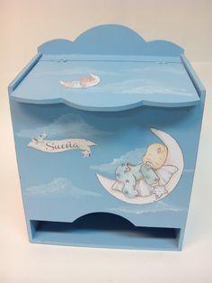 pañalera de madera. Realizada en Manualidades Pinacam. Decoupage, Baby Deco, Painted Boxes, Baby Birth, Painting On Wood, Ideas Para, Pink Blue, Decorative Boxes, Baby Boy