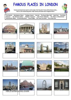 These 2 worksheets are helpful if you want your pupils/students know the most famous places in London. There are 2 parts. Part 1 consists in identifying the famous places. Part 2 consists in finding the right place according to its definition. English Day, English Class, English Lessons, Learn English, English Vocabulary, English Grammar, Teaching English, English Resources, English Activities