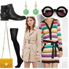 MISSONI Crochet-knit mini dress + trench coat + anckle boots + yellow shoulder bag + sunglasses + tights + green earings  | Women's Outfit |