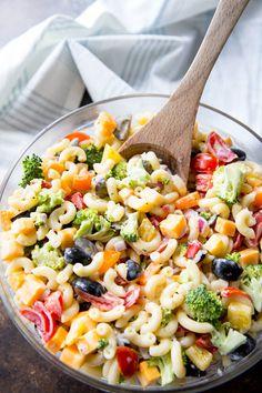 Rainbow Macaroni Salad easypeazymealz.com