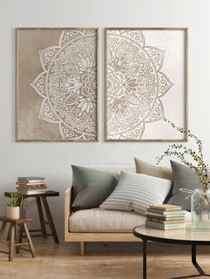 Beige Taupe Mandala Wall Art Set of 2 Prints Neutral Color Poster Boho Living Room Large Wall . - Beige Taupe Mandala Wall Art Set of 2 Prints Neutral Color Poster Boho Living Room Large Wall Art, - Panel Wall Art, Wall Art Sets, Large Wall Art, Canvas Wall Art, Fabric Wall Art, Mirror Wall Art, Diy Canvas, Boho Living Room Decor, Room Wall Decor