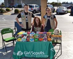 Best use of a dog as a sandwich board to sell Girl Scout Cookies #girlscouts
