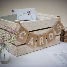 35 Rustic Wedding Card Boxes And Their Alternatives: whitewashed wooden crate with a burlap banner
