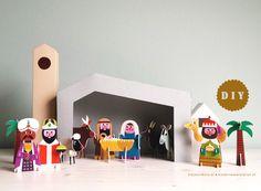 DIY kerststal zelfmaken kerstdorp kinderkamer