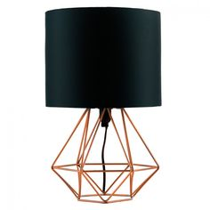 Copper Home Accessories Bedside Tables - Angus Copper Geometric Table Lamp With Black Shade. Bedside Lamp, Tripod Lamp, Desk Lamp, Bedside Tables, Bedside Lighting, Copper Table Lamp, Black Table Lamps, Desk Light, Light Table