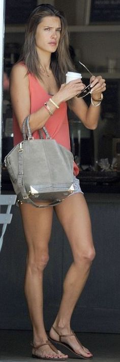 Who made Alessandra Ambrosio's gray suede handbag and brown flat sandals that she wore in Los Angeles? Purse – Alexander Wang  Sunglasses – Ray Ban  Shoes – Sam Edeleman