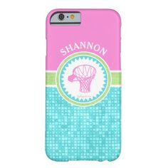 Golly Girls Tri-Pastel Color Basketball With Aqua Tile Barely There iPhone 6 Case