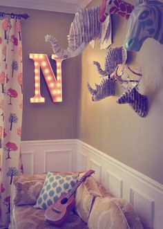 Beautifully DIY decorated Cardboard Safari animals and awesome lights by Vintage Marquee Lights