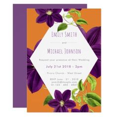 #Purple Flower Wedding Invitations - #weddinginvitations #wedding #invitations #party #card #cards #invitation #elegant