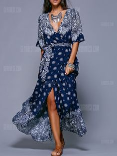 Bohemian Belted Print Maxi Dress -  22.02 Free Shipping  4e018d767c49