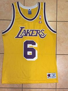 8ec2cec32aa Rare Vintage Champion Eddie Jones Los Angeles Lakers  NBA  Basketball Jersey  Sz 40 from  64.99