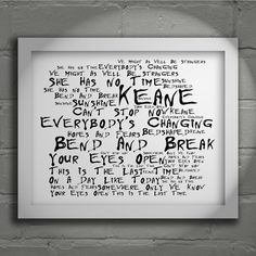 Keane Hopes and Fears  limited edition typography lyrics art print, signed and numbered album wall art poster available form www.lissomeartstudio.com