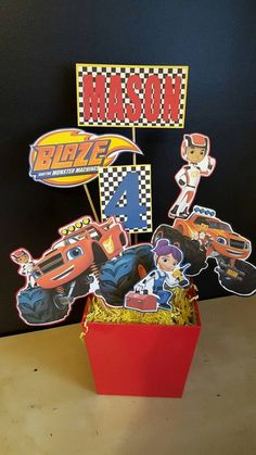 Blaze and the Monster Machines Centerpiece-Blaze by FromAtoZbyTami Blaze And The Monster Machines Party, Blaze The Monster Machine, Festa Monster Truck, Monster Truck Birthday, Cars Birthday Parties, 3rd Birthday, Birthday Ideas, Party Ideas, Party Favors