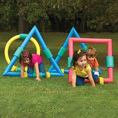 Kids Obstacle Course, Foam Geometric Shapes, Kids Outdoor Games *could totally dyi - made from pool noodles*
