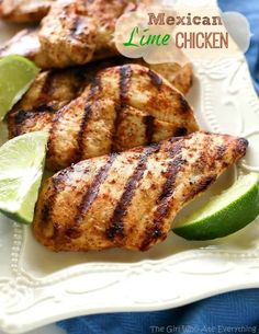 Grilled mexican lime chicken - great over salad, in tacos, burritos, or just Lime Chicken Recipes, Mexican Food Recipes, Top Recipes, Healthy Recipes, Grilled Steak Recipes, Grilling Recipes, Food Dishes, Main Dishes, Fitness Models