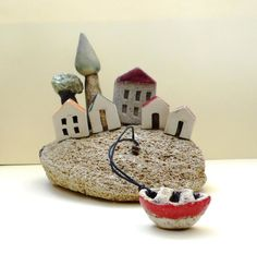 Miniature houses olive tree Cypress tree ceramic boat by ednapio, $74.00