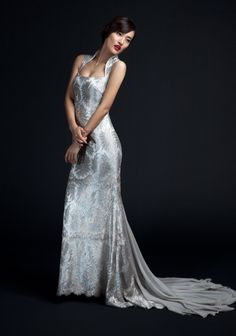 Open Neck Lace Gown with Chiffon Train