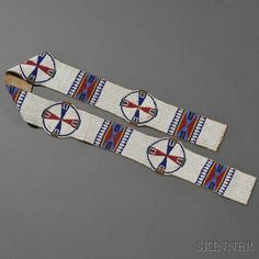 Lakota Beaded Buffalo Hide Blanket Strip
