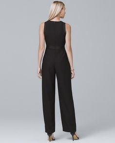 Women's Petite Black Crepe Wide-Leg Jumpsuit by White House Black Market Basic Style, My Style, You Look Pretty, Tall Women, Summer Outfits, Black Outfits, White Shop, Wide Leg, Clothes For Women