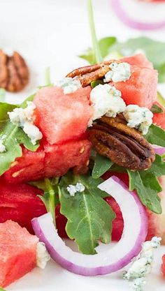 Watermelon and Blue Cheese Salad -great starter idea - add feta instead of blue cheese and maybe just iceberg or romaine.