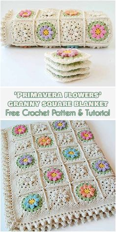 Primavera Flowers Granny Square [Free Crochet Pattern and Tutorial] flower granny squares blanket, tutorial how to join squares and crochet border, more flower granny squares realizations