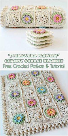 Primavera Flowers Granny Square [Free Crochet Pattern and Tutorial] flower granny squares blanket, tutorial how to join squares and crochet border, more flower granny squares realizations