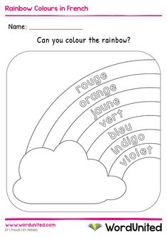 Help children learning the colours of the rainbow in French with this lovely colouring sheet. School Worksheets, Kindergarten Worksheets, Worksheets For Kids, French Teaching Resources, Teaching French, Learning Colors, Kids Learning, French Education, Kids Education