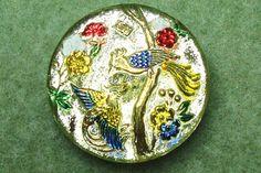 Czech Glass Button 27mm  hand painted  birds by CzechBeadsShop