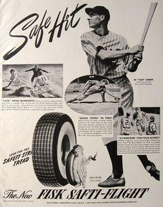 "1941 Fisk Tires Ad ~ Joe ""Flash"" Gordon. Features the ""safety stripe"" tire tread."