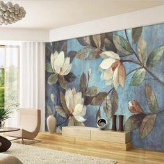 European oil painting the living room wallpaper retro TV backdrop wallpaper entrance large mural seamless bedroom wall
