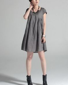 Casual Loose Style Linen Dress
