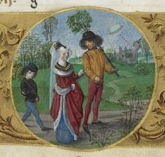 Detail of a calendar page for April, with a roundel miniature of an aristocratic couple courting, followed by a small child, from the Huth Hours, Netherlands (Bruges or Ghent?), c. 1480, Add MS 38126, f. 4v