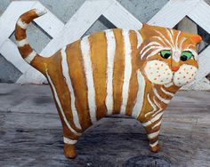 Custom Order Paper Mache Clay Cat Sculpture by GinsLilCharacters