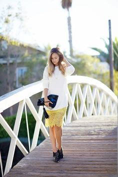 Love this yellow lace pencil skirt, so pretty