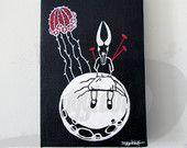 Moon - original surreal acrylic painting - skull head girl on moon with cactus…