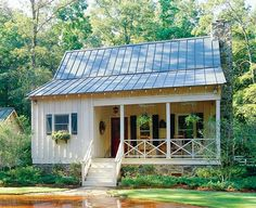 Not really a tiny house but. (This Southern Living house plan is cabin living at its best. An open living room with a fireplace, two bedrooms, two baths and a set of French doors that open to a screened back porch. Tiny Cottage Floor Plans, Tiny House Plans, Small House Plans Under 1000 Sq Ft, 1000 Sq Ft House, Small Home Plans, Guest Cottage Plans, Dog Trot House Plans, Small Farmhouse Plans, Farmhouse Front