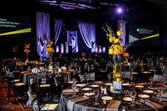 Elegant corporate event - grey and yellow. Vase Arrangements, Floral Centerpieces, Tall Centerpiece, Centerpiece Ideas, Event Themes, Event Decor, Corporate Event Design, Fundraising Events, Fundraisers