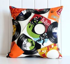 The Beatles Record Pillow Case - 19th Floor - Rolling Stones - Summer - Outdoor Pillow - Home decor - 16 x 16 decorative throw pillow cover via Etsy