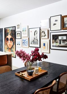 Interior Designer, Kerrie-Ann Jones' Home Has a Lot of Personality with Minimal Color black dining room table, cane chairs Black Dining Room Table, Dining Tables, Coffee Tables, Dining Room Art, Farm Tables, Wood Tables, Black Table, Rustic Table, Side Tables