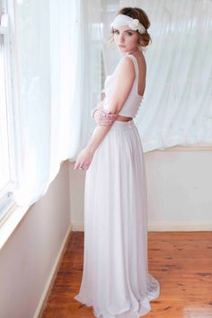 Two Piece Boho Wedding Dress Maxi skirt and by CandiceLeeBridal